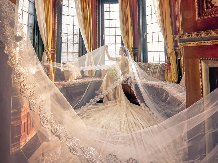 手工婚紗:手工法式蕾絲白紗